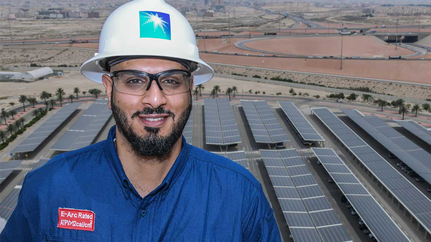 Solar farm providing shade for 4.500 vehicles and generating power to offices at Al Midra – Saudi Aramco